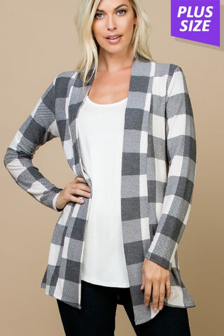 Womens Plaid and Ivory Checked Open Front Cardigan - Curvy Plus Size