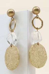 """Crystal"" Metal Disc with Raw Crystal Earrings"