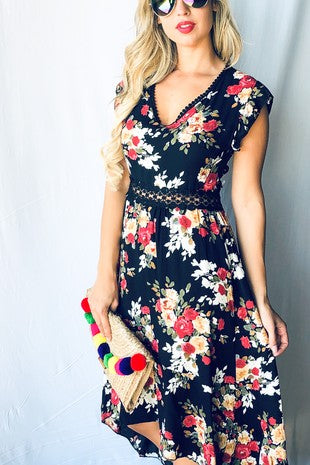"""Bellatrix"" High Low Floral Maxi Dress - Black"