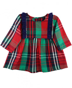 Girls' Plaid Tunic Dress by Rufflebutts - Red, White, Blue & Green