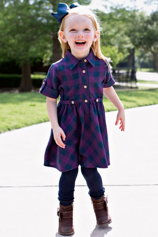 Girls' Vintage Inspired Shirt Dress in Plum and Navy Buffalo Check