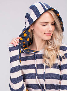 Girl's Striped Hoodie with Polka Dot Accent