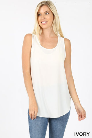 """Elise"" Relaxed Everyday Tank - Ivory"