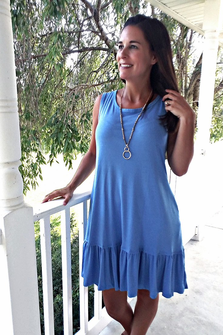 """Ashley"" Sleeveless Tank Dress with Ruffled Hem - Blue"