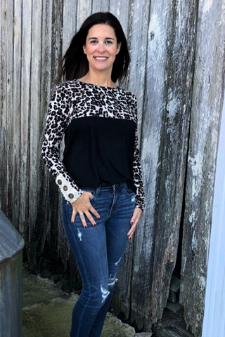 """Leopard and Lace"" Color Block Top - Black"