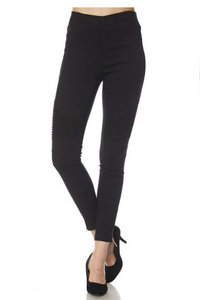 Pull On Moto Pants with Zippered Cuff - Curvy Plus- Black