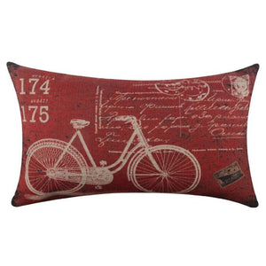 Bicycle Linen Square Throw Flax Pillow Case Decorative Cushion Pillow Cover