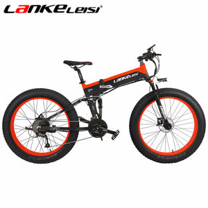 LANKELEISI Snow Electric Fat Bike New 26Inch 500W 48V Super Powerful Electric Bicycle Battery 27Speed All-terrain Unisex Ebike
