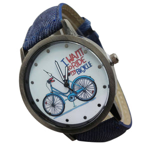 Vintage Watch Denim Bicycles Male And Female Students Couple Table
