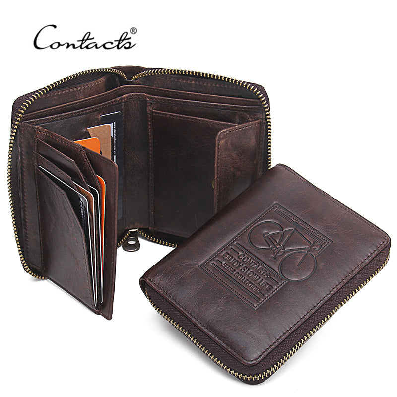 CONTACT'S Men Wallets Genuine Leather Brand Design Zipper Purse Bicycle Print Designer Mens Purses Money Bag With Coin Pocket