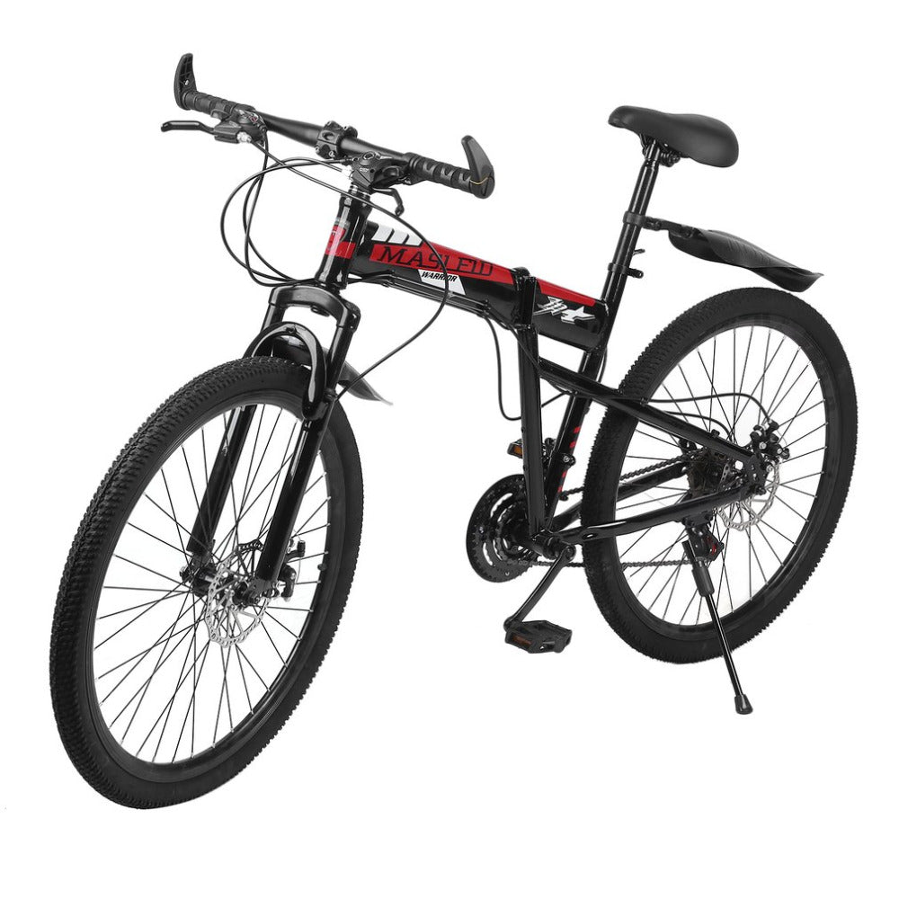 26inch*17inch folding mountain bike double disc brakes Variable Speed Folding mountain Bicycle Front Rear Mechanical Bike