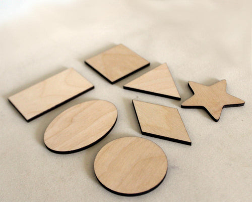 Basic Geometric Shapes, Wooden Set of 7