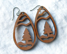 Christmas Tree Drop Earrings (Wooden)