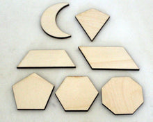 Complex Geometric Shapes, Wooden Set of 7