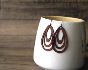 Concentric Teardrop Earrings, Lightweight Leatherette, Vegan