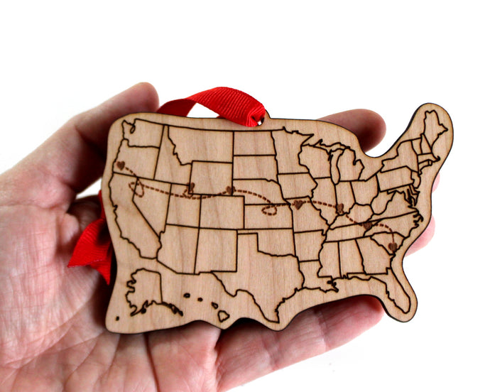 Custom Road Trip Cities US Map Ornament