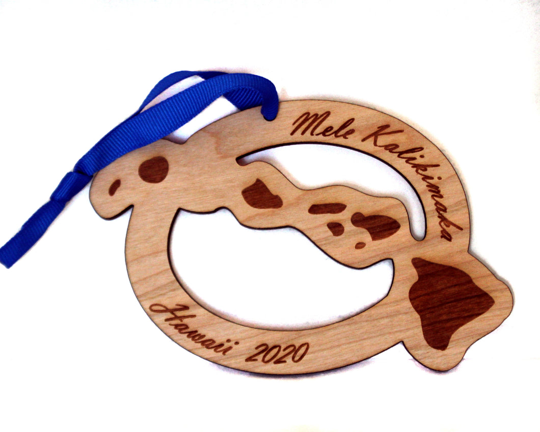 Customizable Hawaii Map Ornament, Mele Kalikimaka