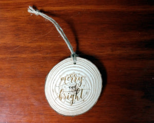 Merry and Bright Wood Slice Ornament (The Christmas Song)