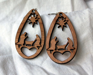 Nativity Scene Drop Earrings (Wooden)