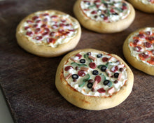 Pizza Pattern Weights, Mixed toppings -- Set of 6