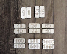Point Counters for Board Games (1, 5, 10, 25, 50, 100, 500, and 1000)