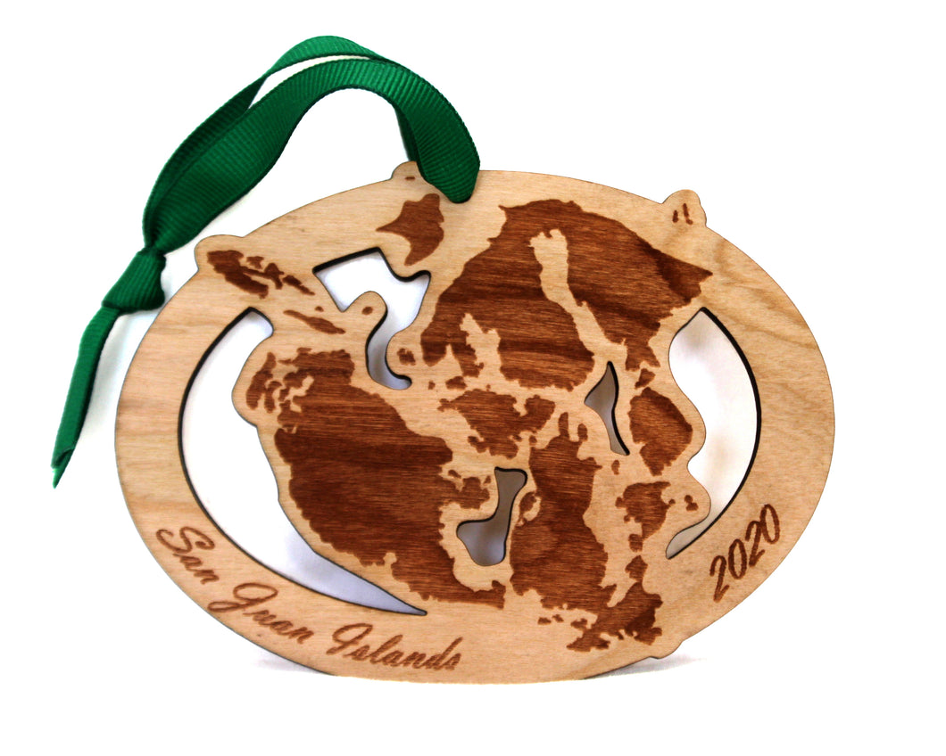 San Juan Islands Map Ornament