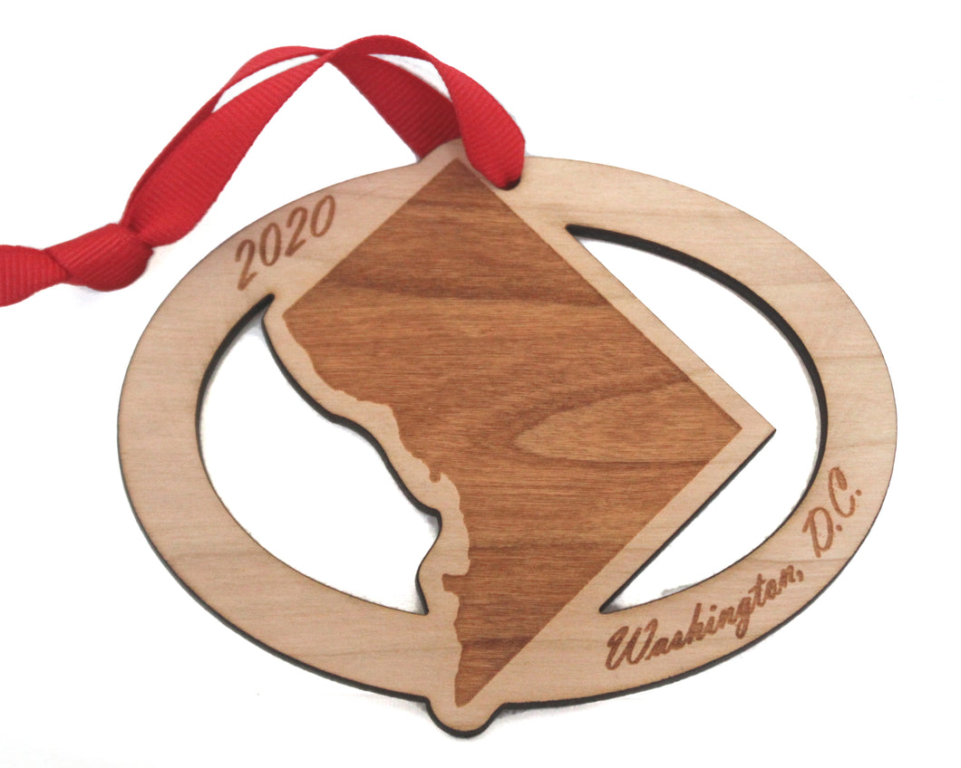 Washington DC (District of Columbia) Map Ornament