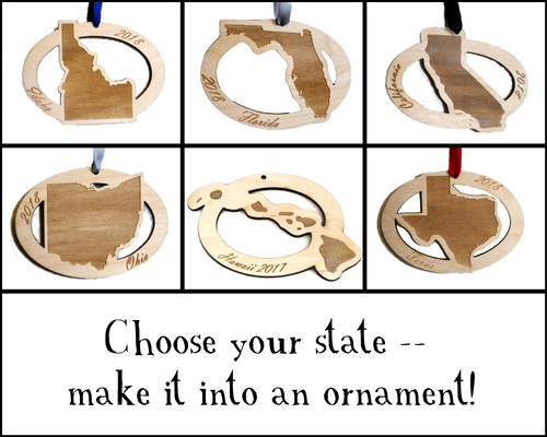 Custom Wooden State Ornament