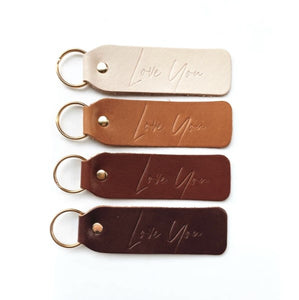 """Love You"" Script Hand Stamped Leather Keychain"