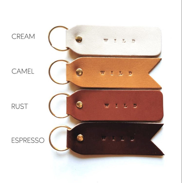 WILD Script Leather Keychain
