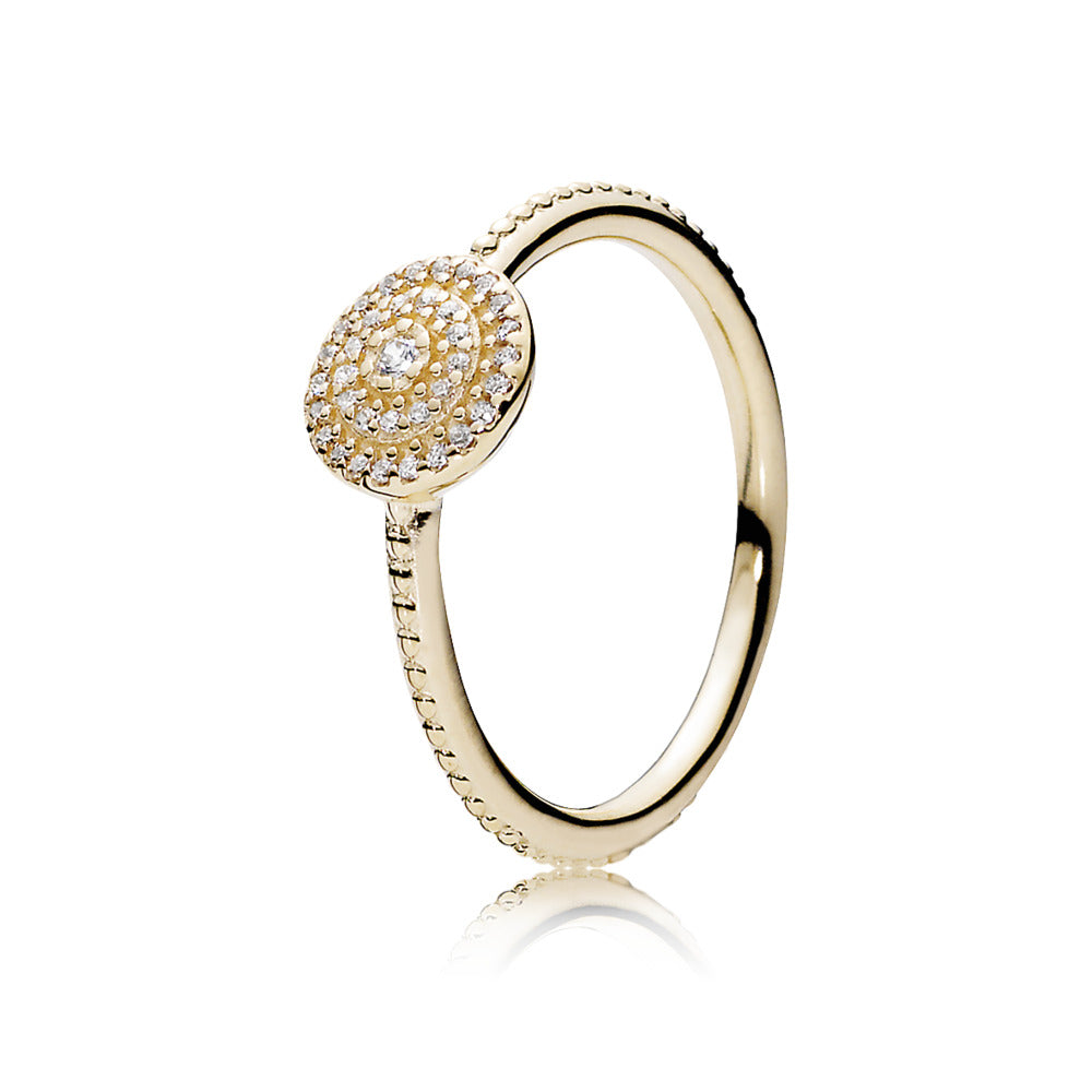 Ring Radiant Elegance in 14K Gold with Clear Cubic Zirconia