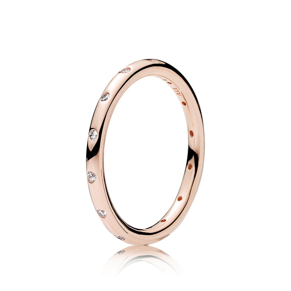 Ring in PANDORA Rose with clear cubic zirconia