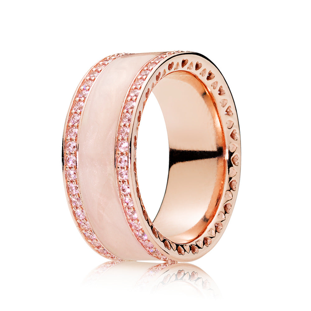Ring in PANDORA Rose with pink cubic zirconia and cream enamel