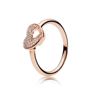 Heart ring in PANDORA Rose with 36 micro bead-set clear cubic zirconia