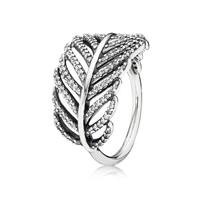 A silver feather ring by Pandora.