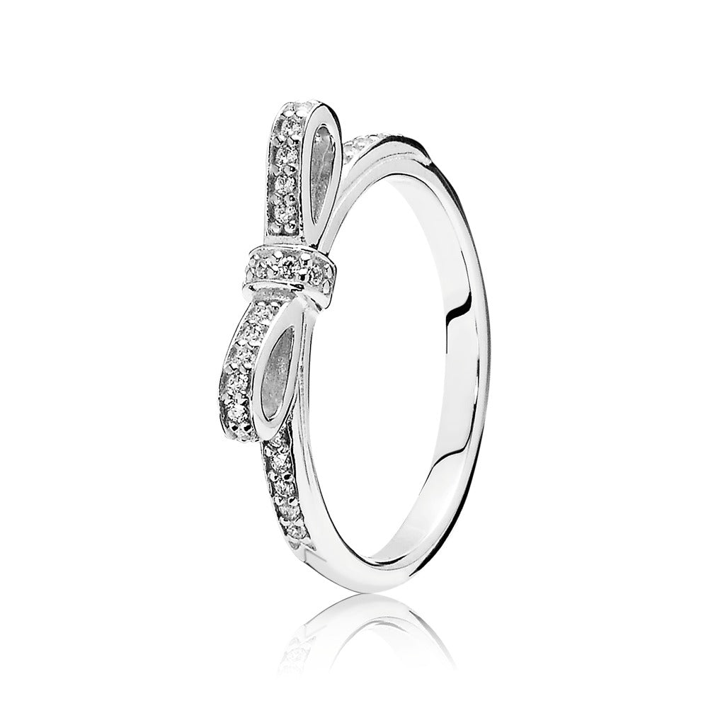 Sparkling Bow, Clear CZ Sterling Silver