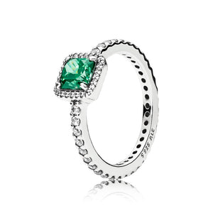 Ring in sterling silver with green cubic zirconia and clear cubic zirconia