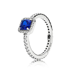 Ring in sterling silver with true blue crystal and clear cubic zirconia