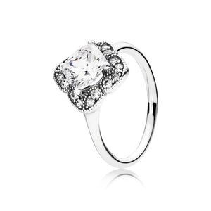 A fancy cut cubic zirconia ring by Pandora.