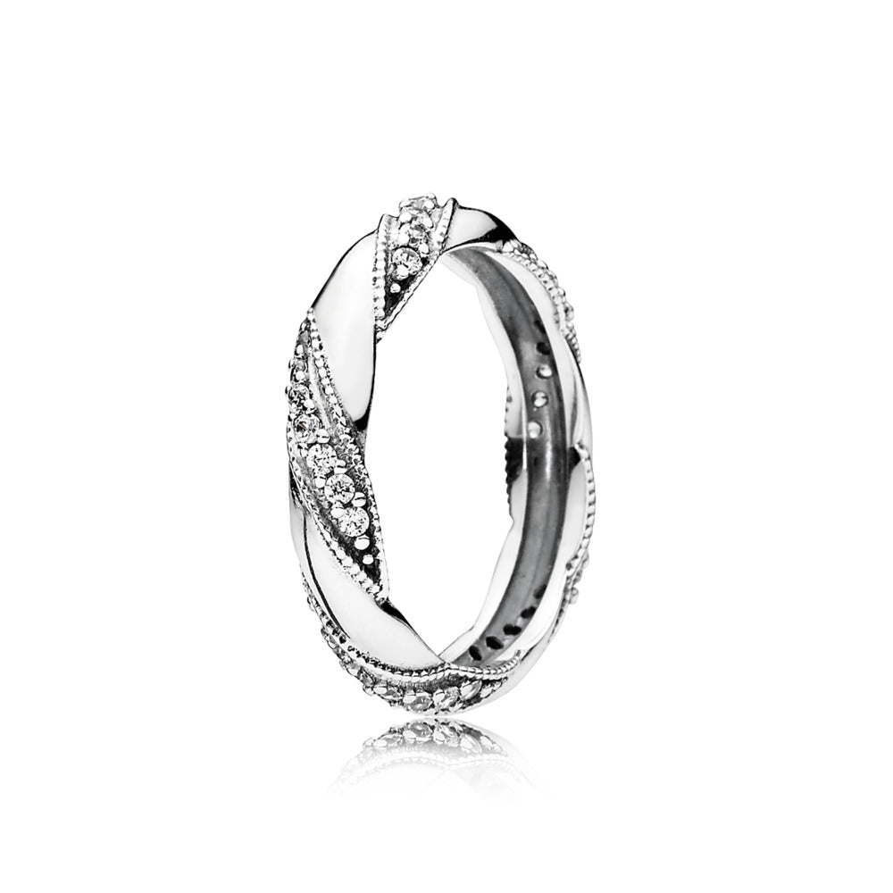 Ring Ribbon of Love with Clear Cubic Zirconia