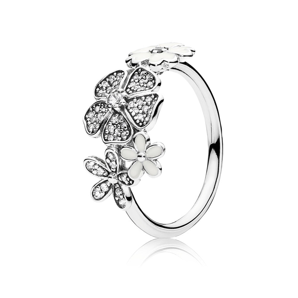 Ring Shimmering Bouquet with White Enamel and Clear Cubic Zirconia