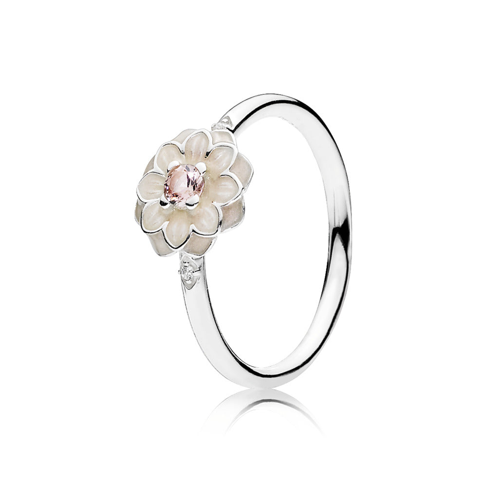 Ring Blooming Dahlia with Cream Enamel and Clear Cubic Zirconia