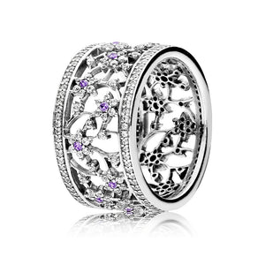 Ring Forget Me Not with Purple and Clear Cubic Zirconia #2