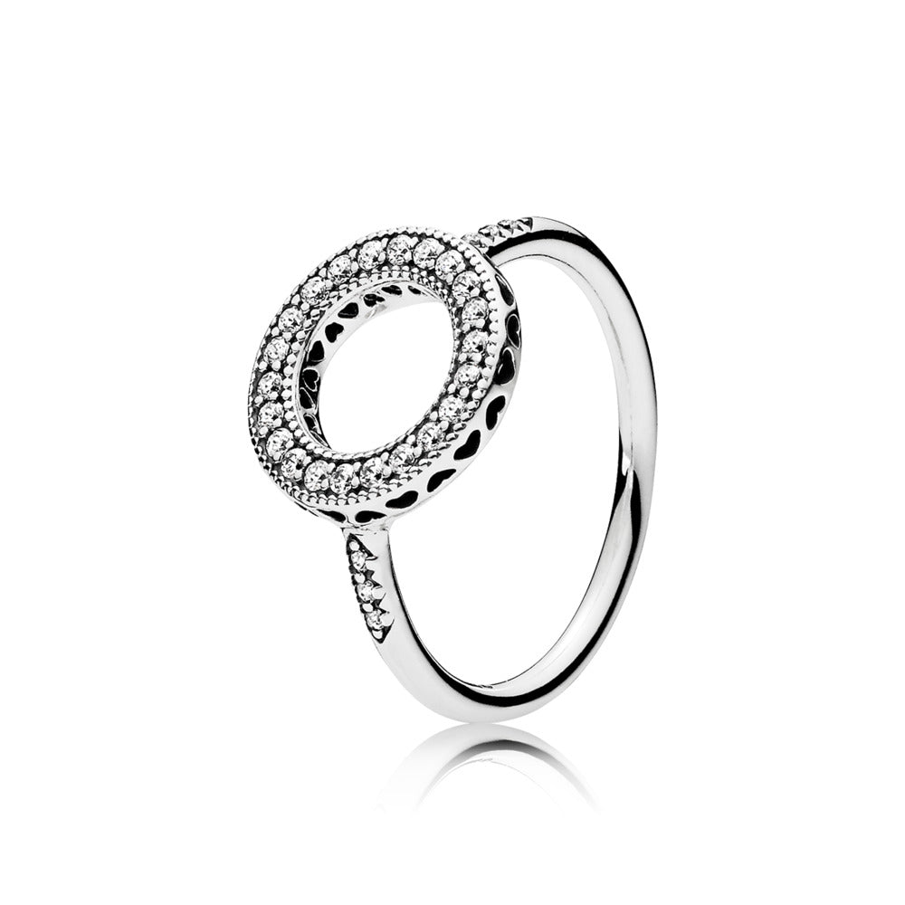 A halo ring with cubic zirconia.