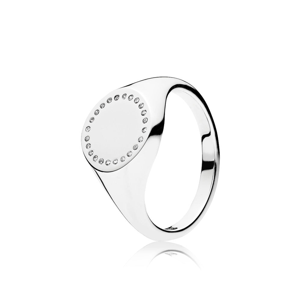 Circle Signet, Clear CZ