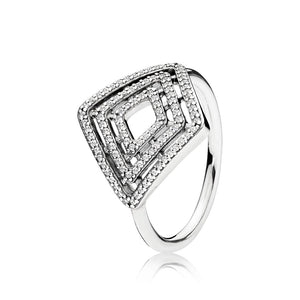 Ring in sterling silver with clear cubic zirconia
