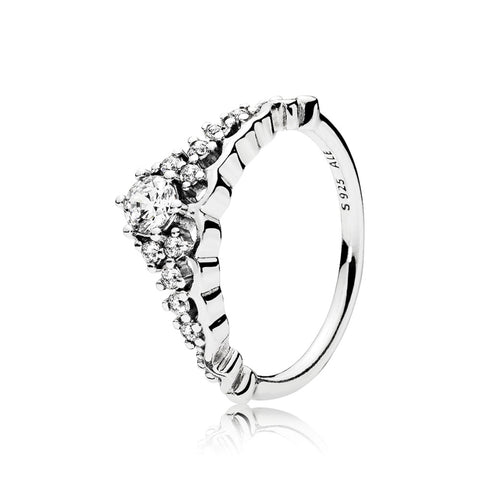 Tiara ring in sterling silver with 11 bead-set clear cubic zirconia