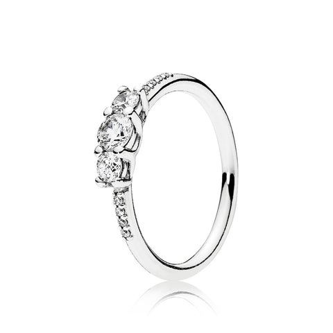 Ring in sterling silver with 3 claw-set and 8 bead-set clear cubic zirconia