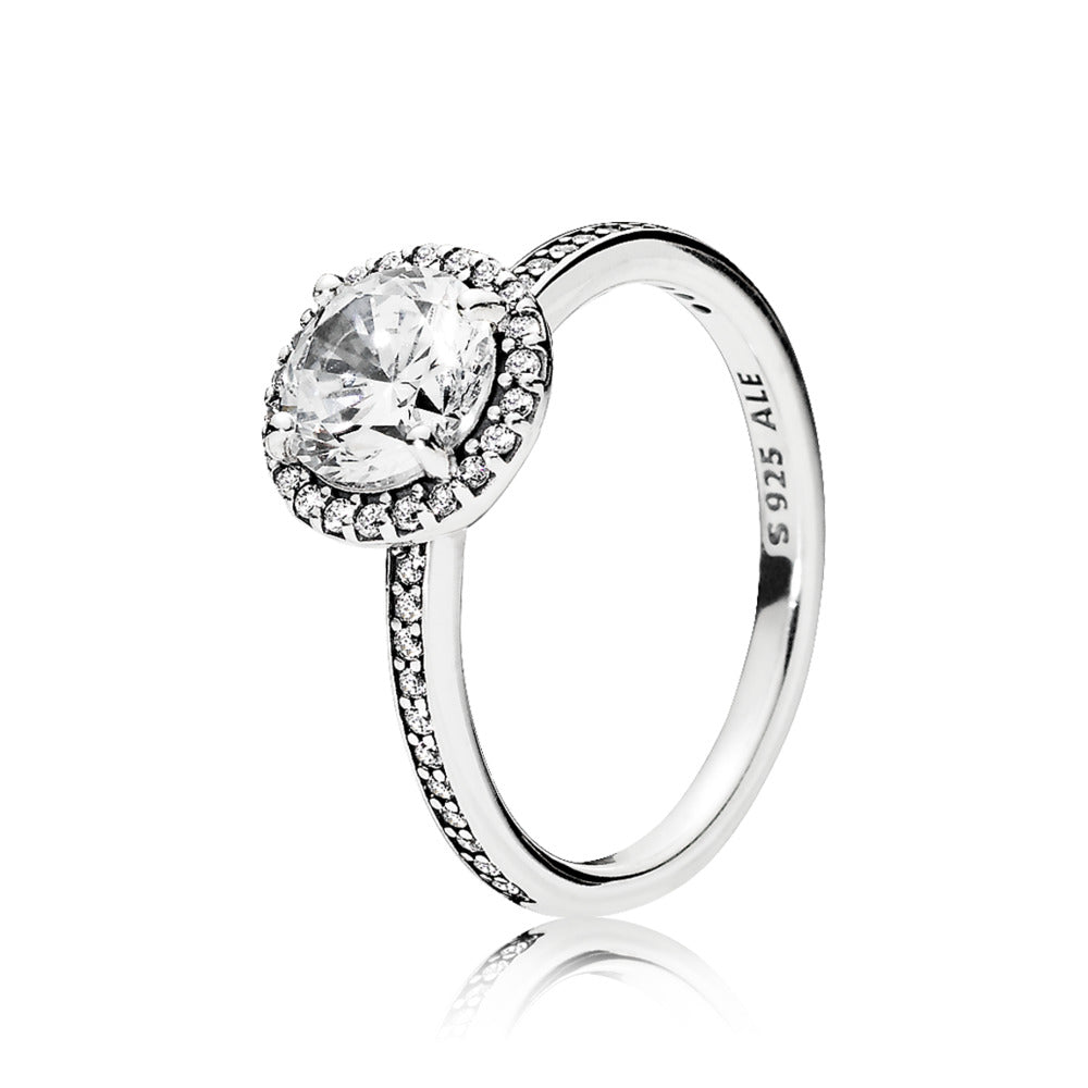 Ring in sterling silver with claw-set clear cubic zirconia