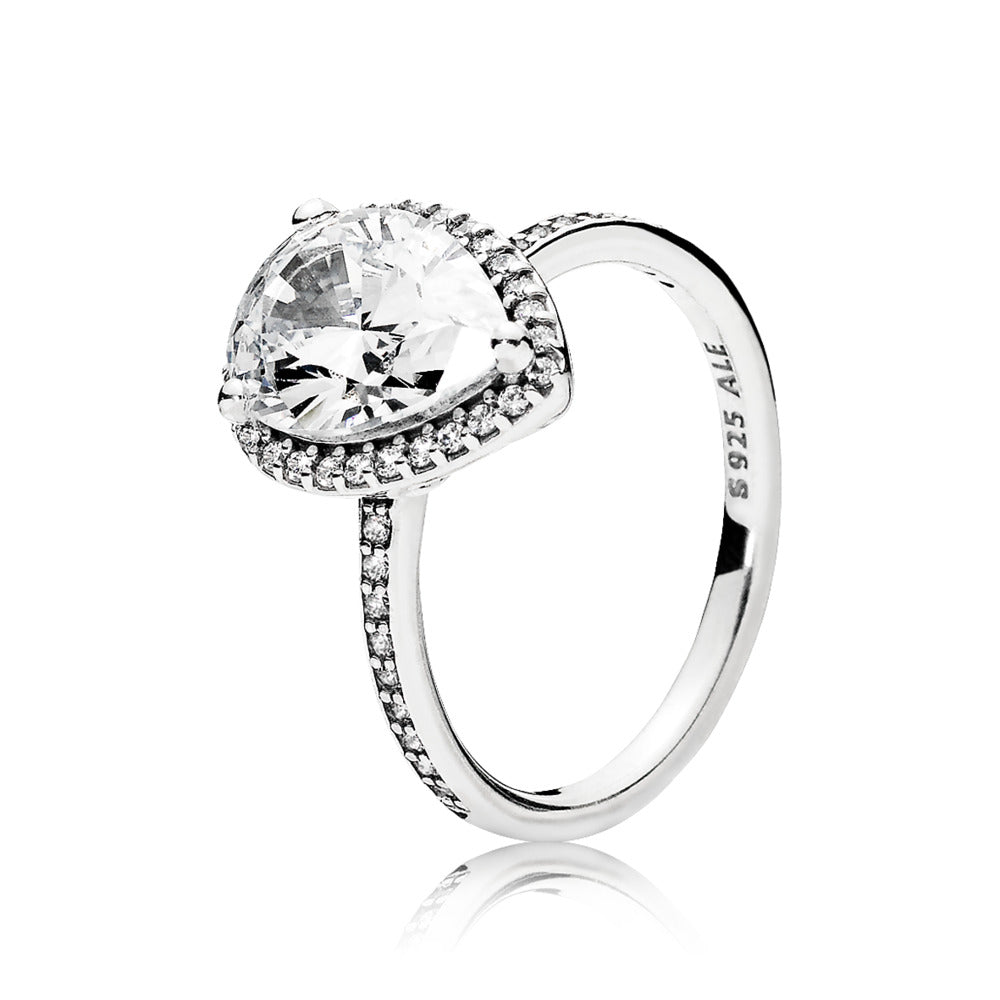 Ring in sterling silver with claw-set pear-cut clear cubic zirconia